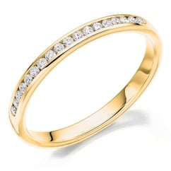 18ct yellow gold 0.20ct round brill diamond half eternity ring.