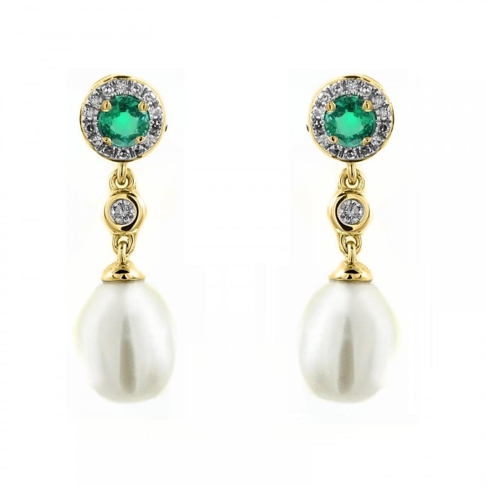 18ct Yellow Gold 0 22ct Emerald Diamond Pearl Drop Earrings