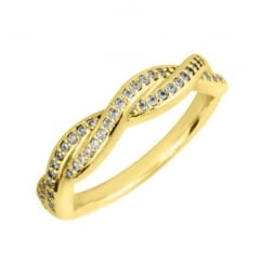 18ct yellow gold 0.23ct diamond twist band