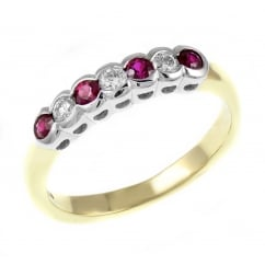 18ct yellow gold 0.23ct ruby & 0.17ct diamond 7 stone ring.