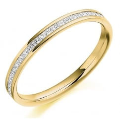 18ct yellow gold 0.25ct princess cut diamond half eternity ring.