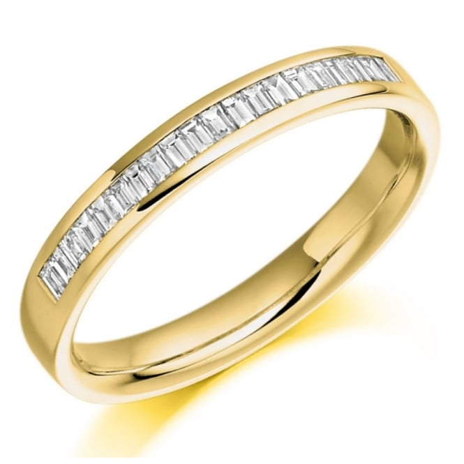 The Raphael Collection 18ct yellow gold 0.26ct baguette cut diamond half eternity ring.