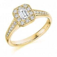 18ct yellow gold 0.30ct F VS1 IGI emerald cut diamond halo ring