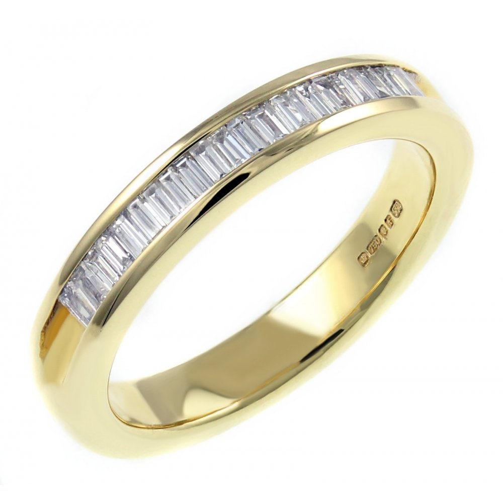 12a7a5ce6d106b 18ct yellow gold 0.33ct baguette cut diamond half eternity ring - Wedding  from Mr Harold and Son UK