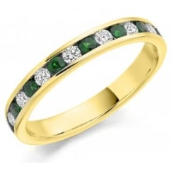 18ct yellow gold 0.33ct emerald & 0.27ct diamond eternity ring.