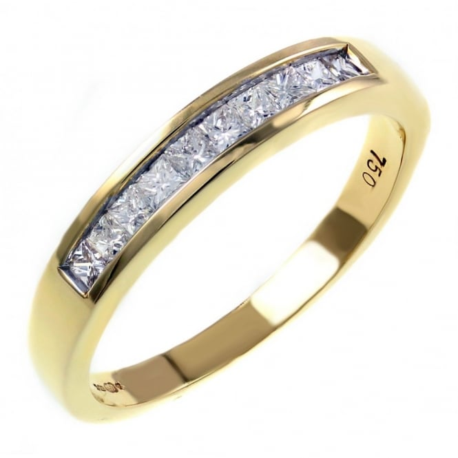 18ct yellow gold 0.33ct princess cut diamond half eternity ring