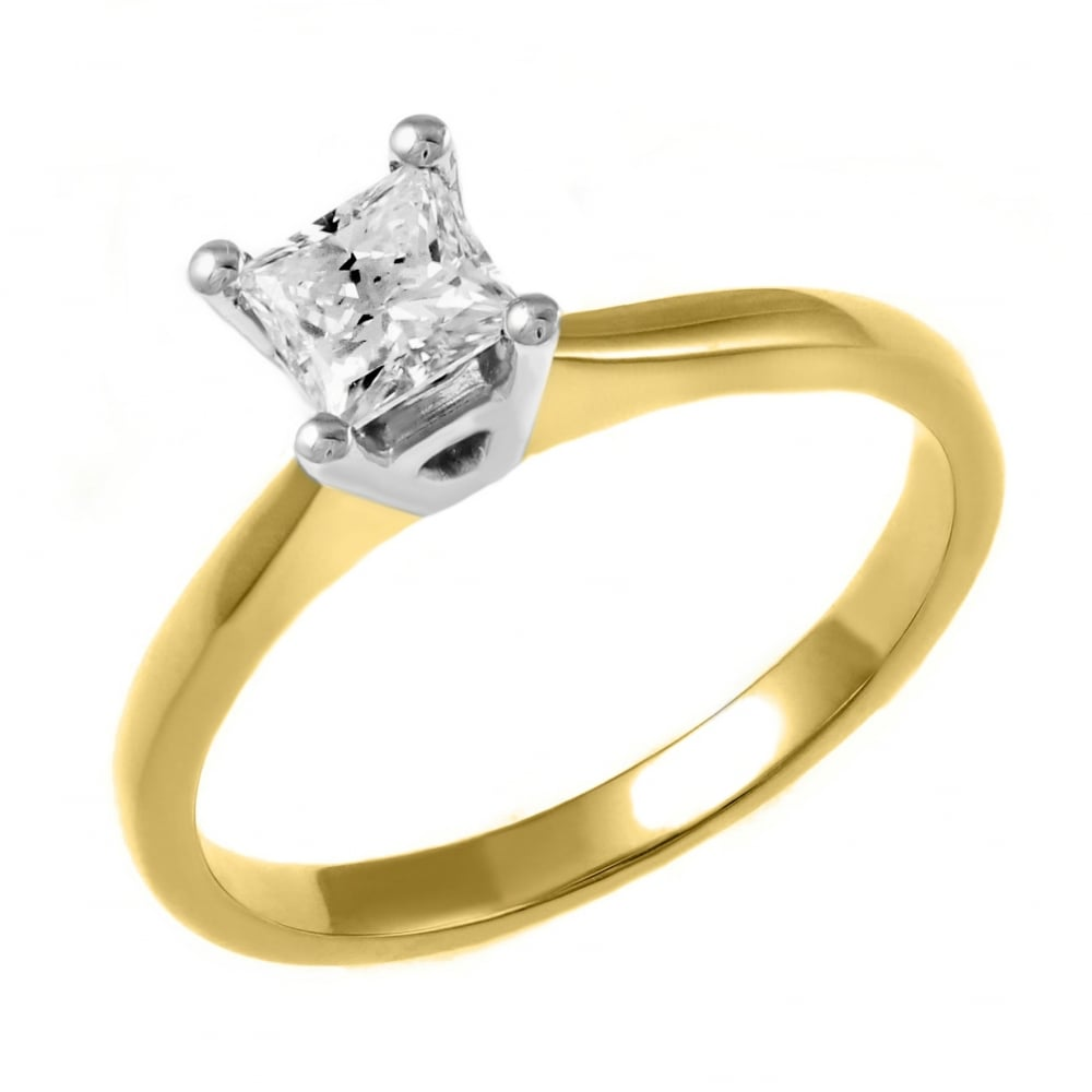 White Gold Princess Cut Enement Rings | 18ct Yellow Gold 0 33ct Princess Cut Diamond Solitaire Ring