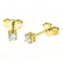 18ct yellow gold 0.38ct round brilliant diamond stud earrings.