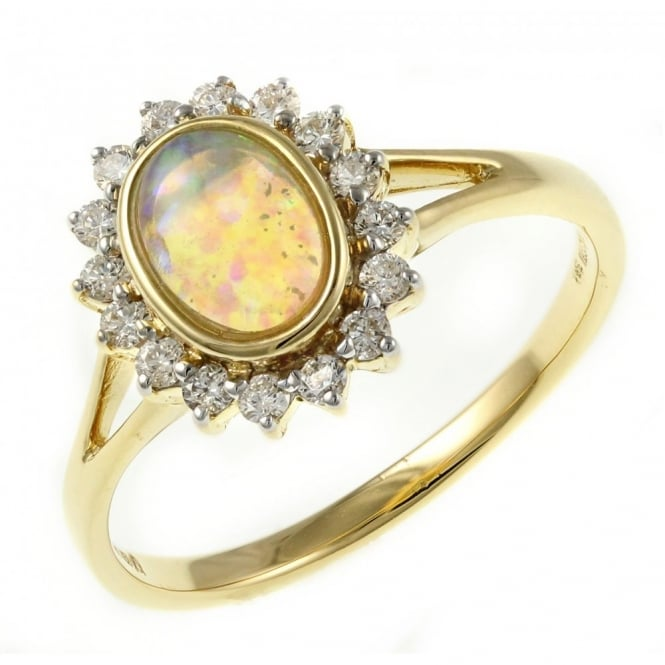 18ct yellow gold 0.39ct oval natural opal & 0.25ct diamond ring