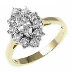 18ct yellow gold 0.40ct E VS1 GIA marquise diamond cluster ring