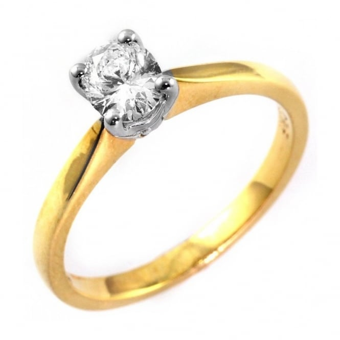 18ct yellow gold 0.40ct oval cut diamond solitaire ring.