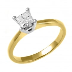 18ct yellow gold 0.40ct princess cut diamond solitaire ring.