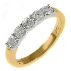 18ct yellow gold 0.40ct round brilliant cut 5 stone ring.