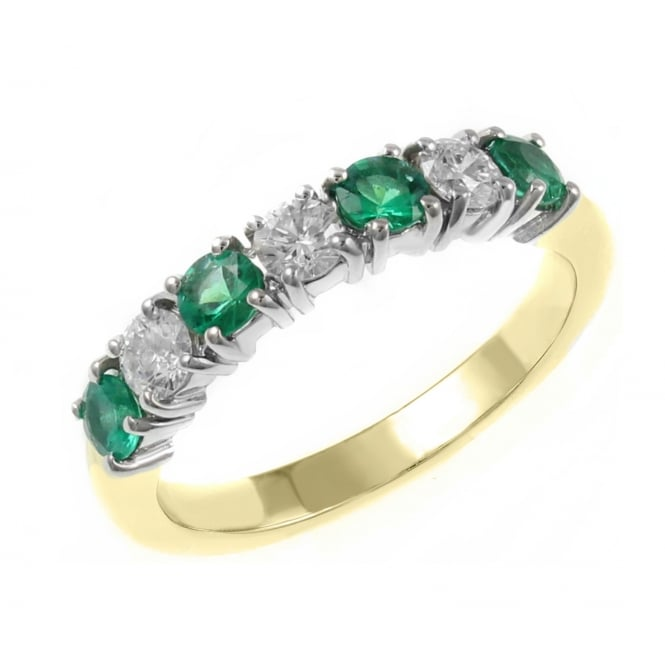 18ct yellow gold 0.41ct emerald & 0.34ct diamond 7 stone ring.