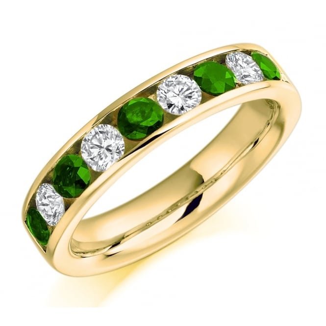 The Raphael Collection 18ct yellow gold 0.42ct emerald & 0.58ct diamond eternity ring.