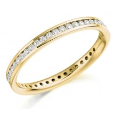 18ct yellow gold 0.42ct round brill diamond full eternity ring.