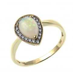 18ct yellow gold 0.46ct opal & 0.08ct diamond pear cluster ring