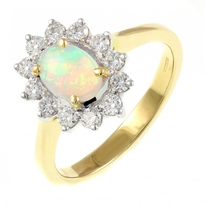 18ct yellow gold 0.47ct opal & 0.44ct diamond cluster ring.