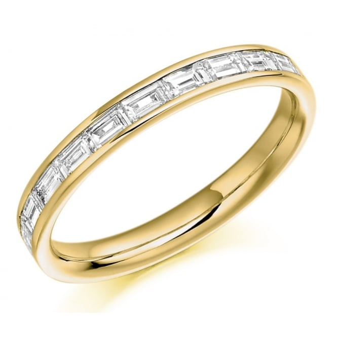 The Raphael Collection 18ct yellow gold 0.50ct baguette cut diamond half eternity ring.