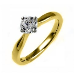 18ct yellow gold 0.50ct D SI1 EGL round brilliant diamond ring.