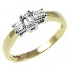 18ct yellow gold 0.50ct emerald cut diamond 3 stone ring.