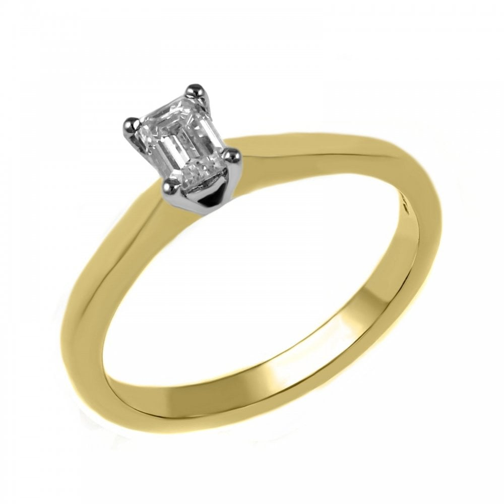 18ct Yellow Gold 0 50ct Emerald Cut Diamond Ring Engagement From Mr Harold And Son Uk