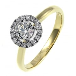 18ct yellow gold 0.50ct F VS2 EGL diamond halo ring.