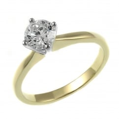 18ct yellow gold 0.50ct F VS2 GIA round brilliant diamond ring.