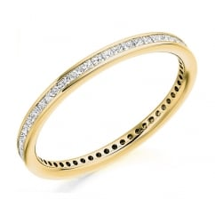 18ct yellow gold 0.50ct princess cut diamond full eternity ring
