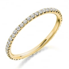 18ct yellow gold 0.50ct round brill diamond full eternity ring.