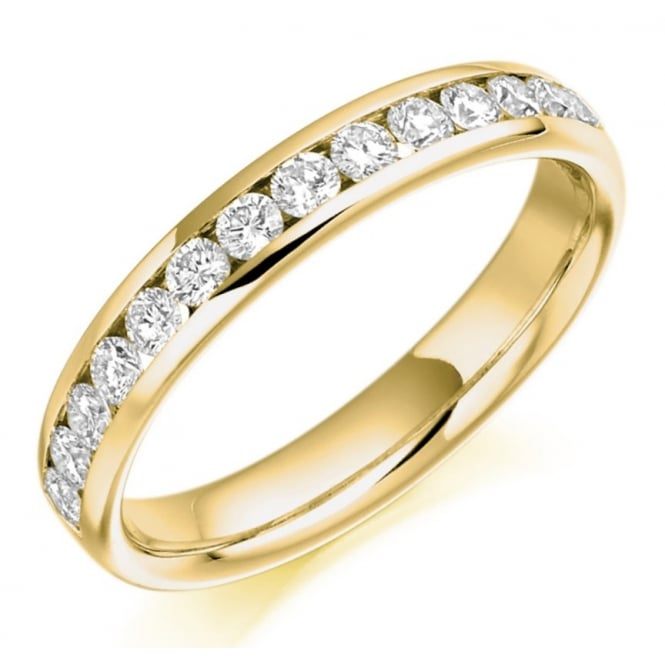 The Raphael Collection 18ct yellow gold 0.50ct round brill diamond half eternity ring,