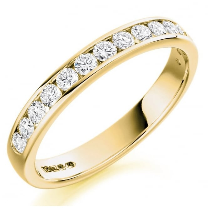 The Raphael Collection 18ct yellow gold 0.50ct round brill diamond half eternity ring.
