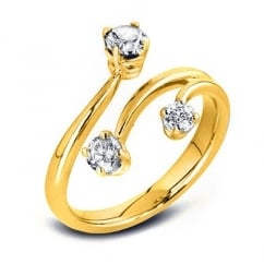 18ct yellow gold 0.50ct round brilliant cut diamond 3 stone ring