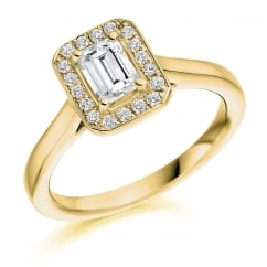 18ct yellow gold 0.52ct F VS2 IGI emerald cut diamond halo ring.
