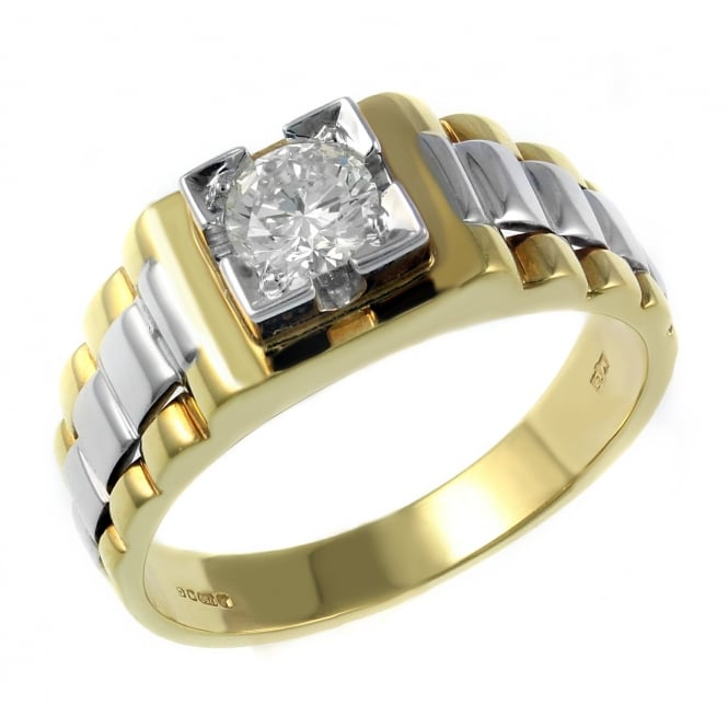 18ct yellow gold 0.53ct diamond gents solitaire ring.
