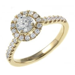 18ct yellow gold 0.53ct E SI1 EGL round brill diamond halo ring.