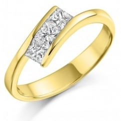 18ct yellow gold 0.55ct princess cut diamond trilogy twist ring.