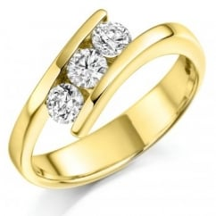 18ct yellow gold 0.55ct round brill diamond trilogy twist ring.