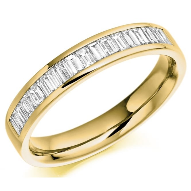 The Raphael Collection 18ct yellow gold 0.56ct baguette cut diamond half eternity ring.