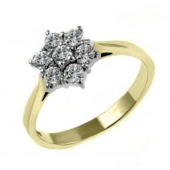 18ct yellow gold 0.56ct diamond flower cluster ring.