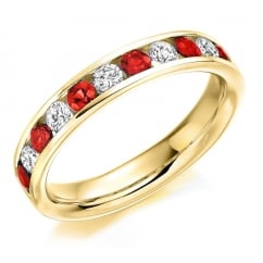 18ct yellow gold 0.56ct ruby & 0.36ct diamond half eternity ring