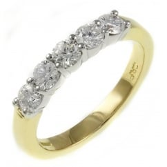 18ct yellow gold 0.61ct round brilliant cut 5 stone ring.