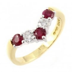 18ct yellow gold 0.61ct ruby & 0.37ct diamond wishbone ring.