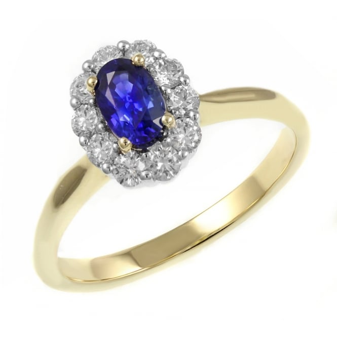 18ct yellow gold 0.62ct sapphire 0.41ct diamond cluster ring.