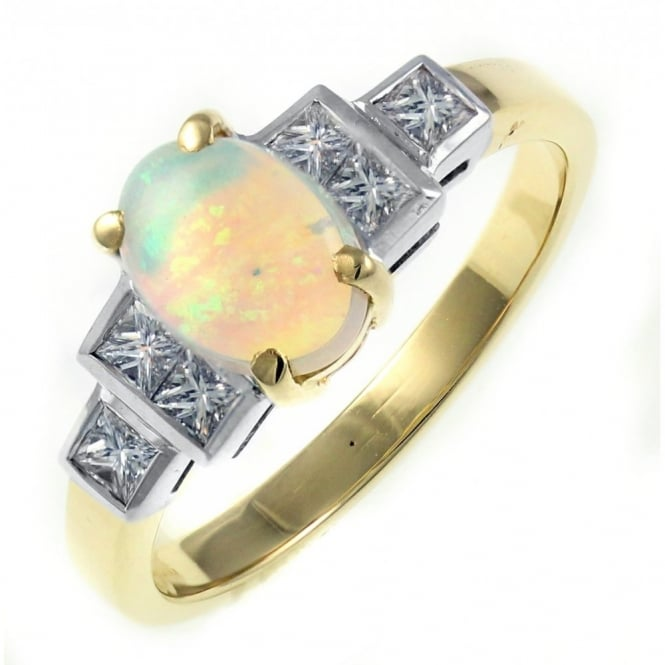 18ct yellow gold 0.67ct natural opal & 0.37ct diamond ring.