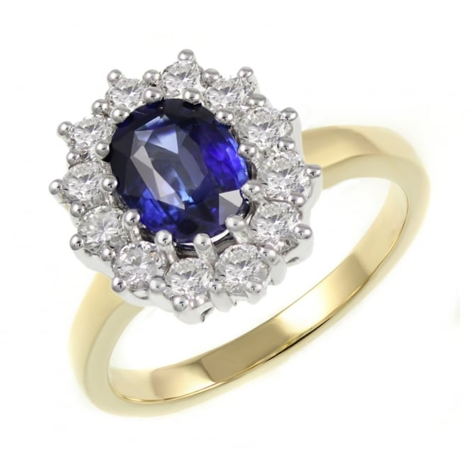 18ct yellow gold 0.67ct sapphire & 0.50ct diamond cluster ring.