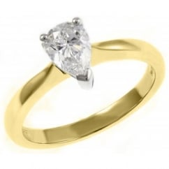 18ct yellow gold 0.70ct D VS1 GIA pear shape diamond ring.