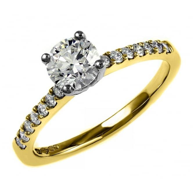 18ct yellow gold 0.70ct E VS2 EGL round brilliant diamond ring.