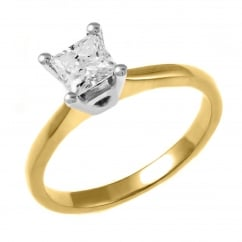 18ct yellow gold 0.70ct princess cut diamond solitaire ring.