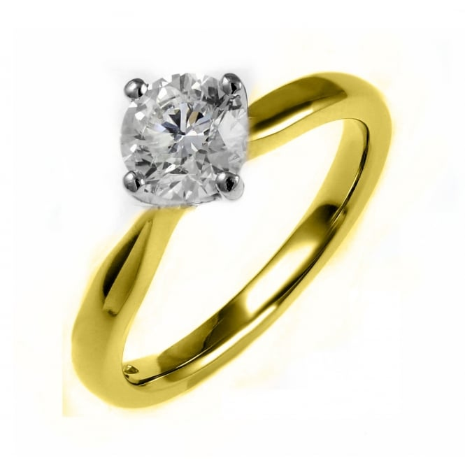 18ct yellow gold 0.71ct D SI1 EGL round brilliant diamond ring